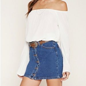 Forever 21 white lace accent sleeve top. Large